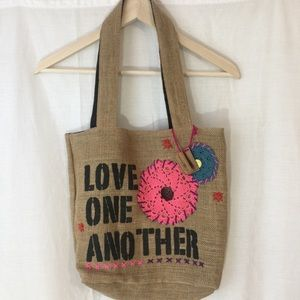 """Burlap """"Love One Another"""" Bag"""